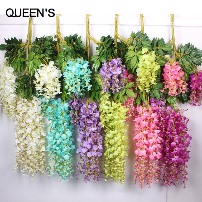 Flower Garlands For Weddings: 110cm Silk Wisteria Garland Artificial Wisteria Flower