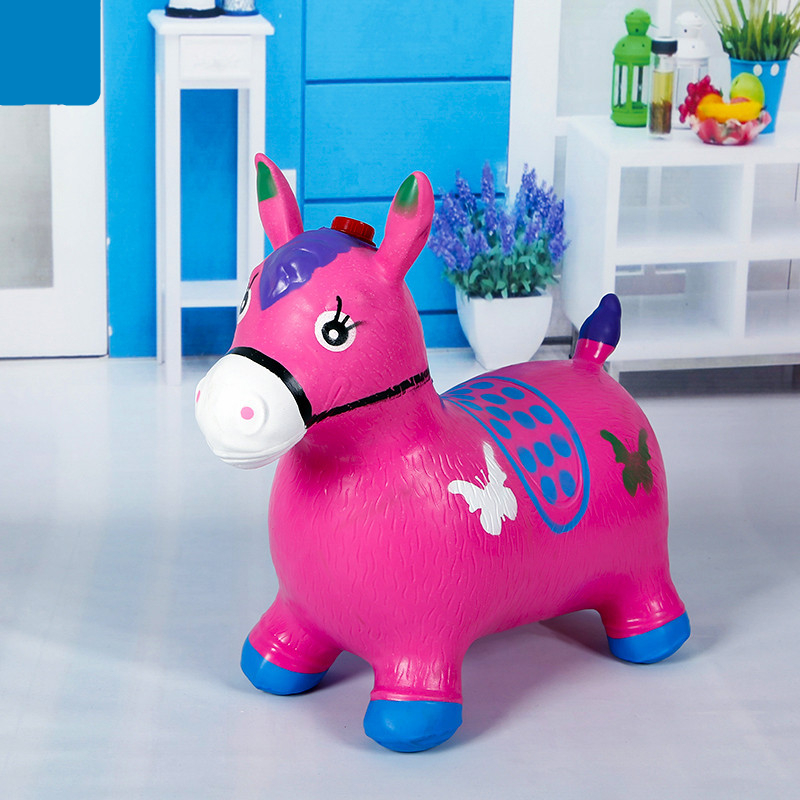 Cute Horse Toys Rides On Animal Bouncy Inflatable Bouncer Funny Jumping Child Inflatable Gift Toys Color Random