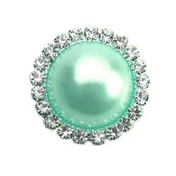 Оптовая продажа, модные блестящие круглые жемчужные пуговицы со стразами