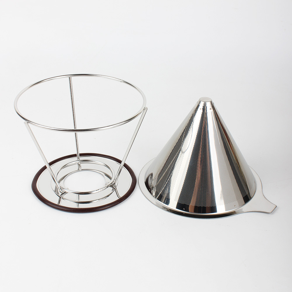 Hot Sale Customize Paperless Reusable Pour Over Stainless Steel Drip Coffee Cone Filter