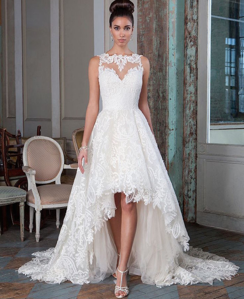 Short In Front Wedding Dress With Long Train 119