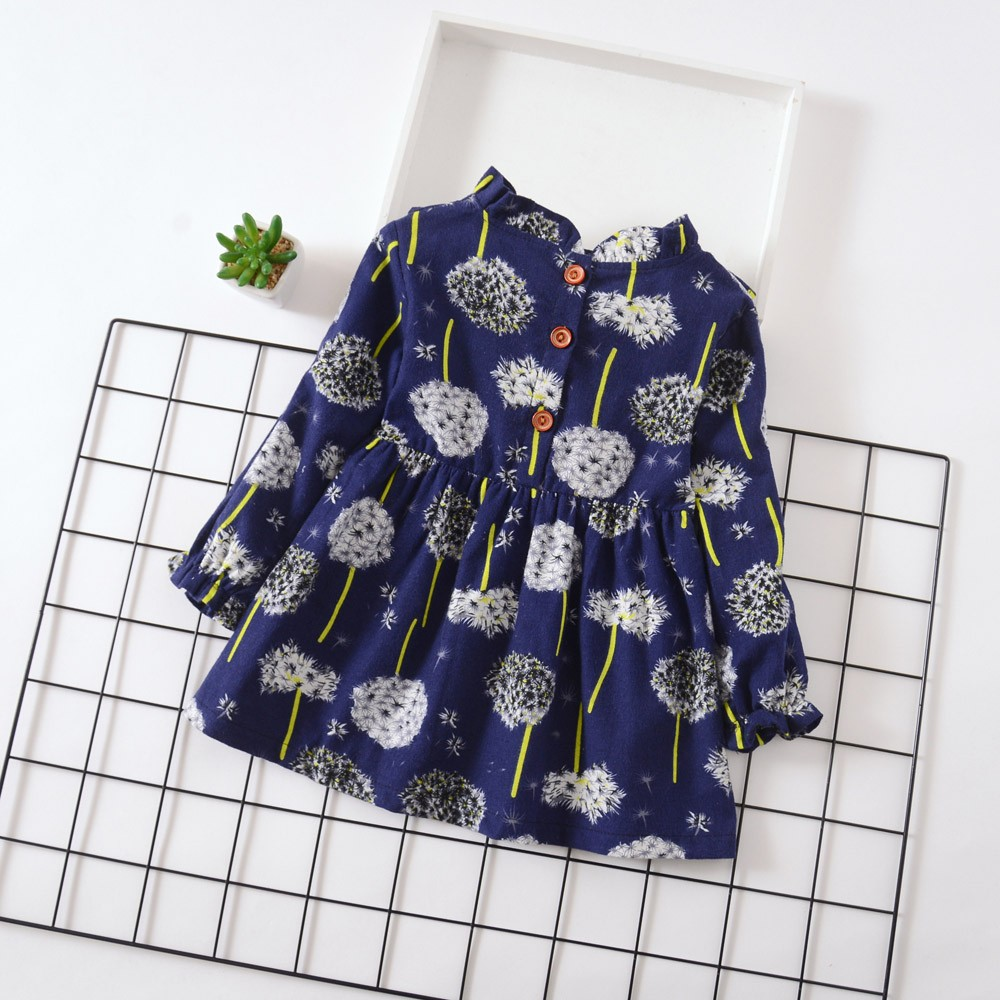 8ff1c2aa9bde8 Girls long sleeve round neck dandelion princess flower print dress Baby  Clothing Girl Summer Clothes Kinder Jurken YL-NEW