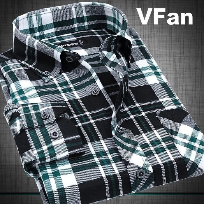 d90e78f9a17eb VFan Flannel Men Plaid Shirts 2016 New Autumn Luxury Slim Long Sleeve Brand  Formal Business Fashion Dress Warm Shirts E1203