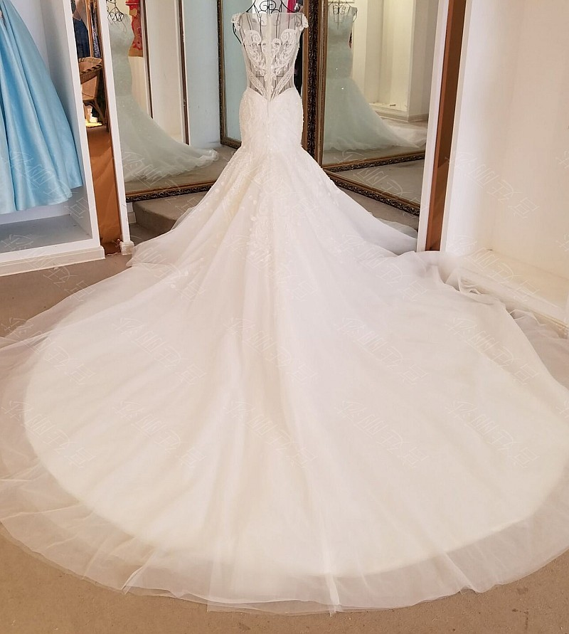 LS17006 Sexy mermaid wedding dress see through back cap sleeves tulle lace wedding gowns 2017 robe de mariee sirene 5