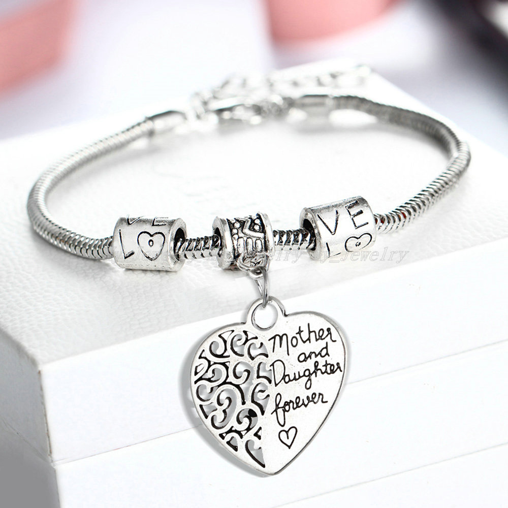 73b8352316c30 Wholesale- Heart Bracelet Silver Plated Love Between Mother And Daughter  Family Gifts Mother s Day Jewelry Bangle Bracelets Charm 2399