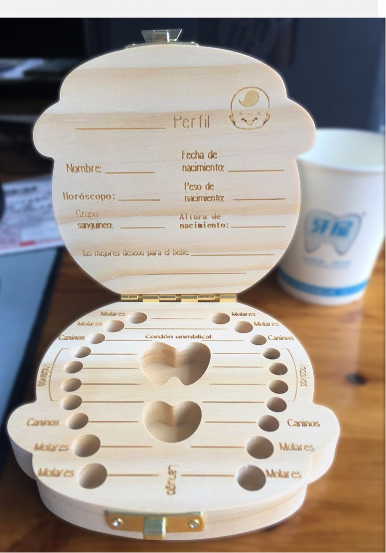 Tooth Box Organizer For Baby Save Milk Teeth Wood Storage