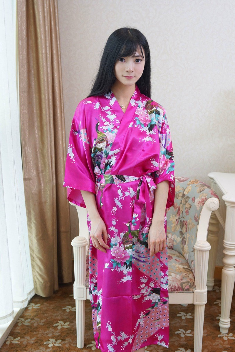 2019 Wholesale Hot Sale Hot Pink Chinese Lady Bathrobe Silk Rayon ... 51dcce637