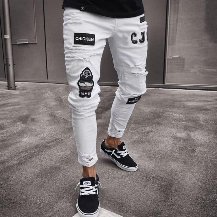 Новинка, мужские потертые штаны в итальянском стиле, обтягивающие байкерские белые джинсы с нашивками, облегающие брюки, мужские джинсы