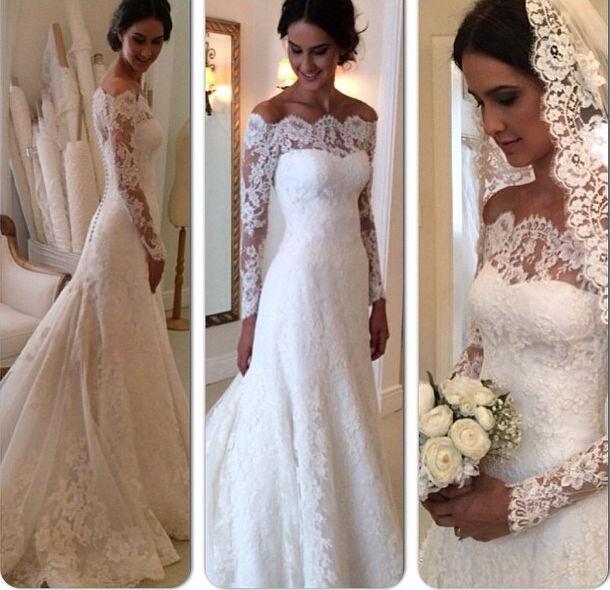 Best Selling Wedding Dress Long Sleeves Lace Vintage