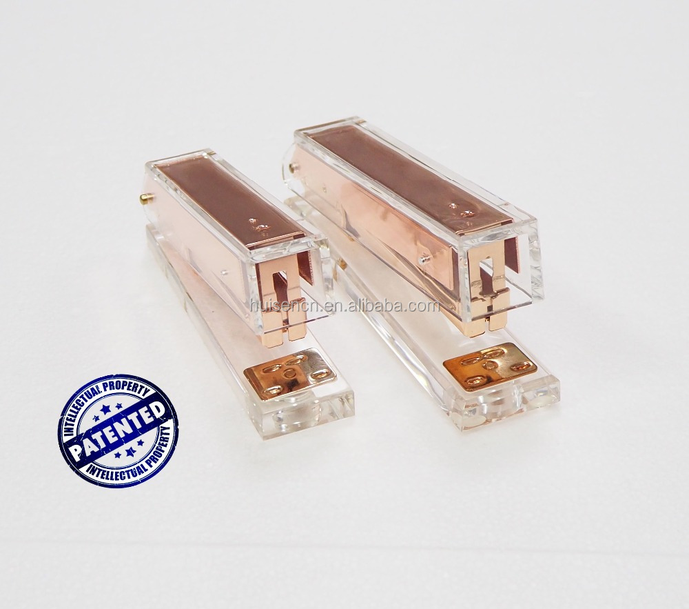 Huisen clear acrylic rose gold stapler luxury golden hardware law patent design office stationery sets