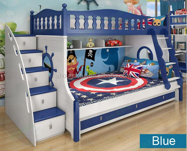 Child bed bunk beds with slides for kids wooden bed