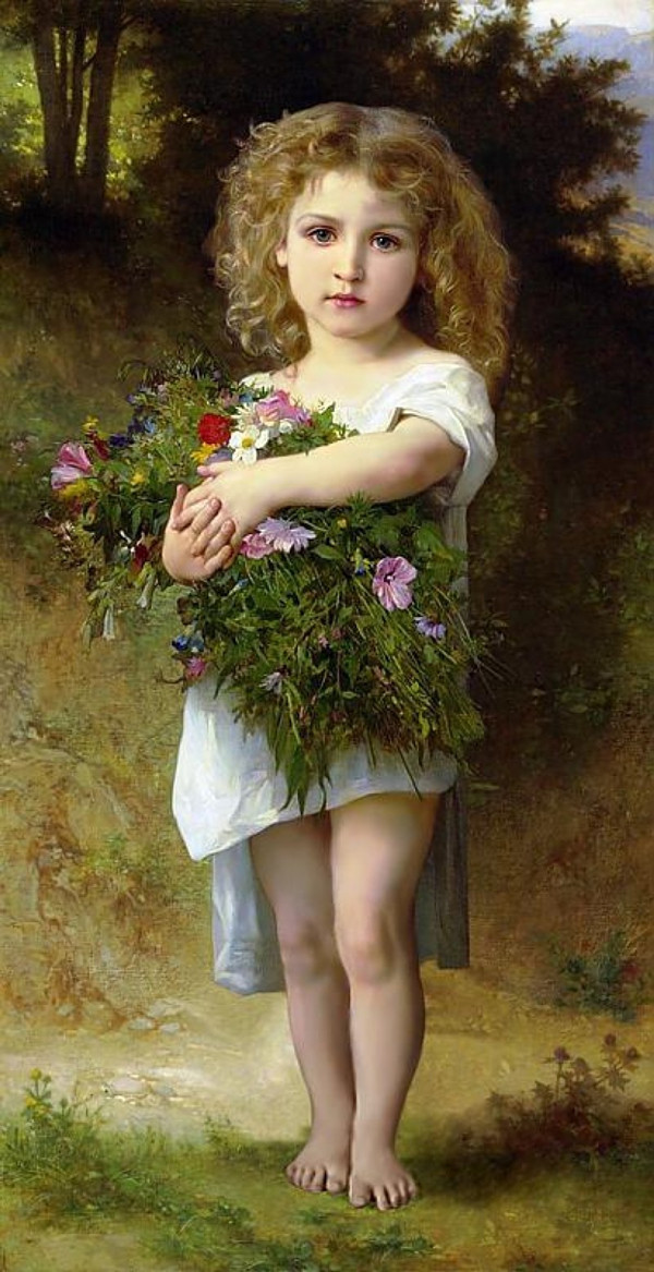 Needlework Crafts & Gift Home decor French DMC Quality Counted Cross Stitch Kit Oil painting 14 ct Child With Flowers