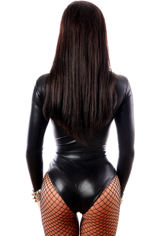 Боди черное кожаное с длинным рукавом и молнией, боди, нижнее белье, боди, боди, цепочка для тела, бандаж для горничной, боди E3263
