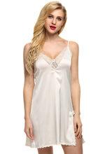 Ekouaer сна платье пикантные атласные пижамы шелковой ночной рубашке Для женщин Ночная рубашка сексуальное женское белье плюс Размеры размеры...(Китай)