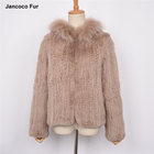 Women Real Knitted Fur Jacket Soft Genuine Fur Coat Rex Rabbit Fur Knitted Hooded Coat