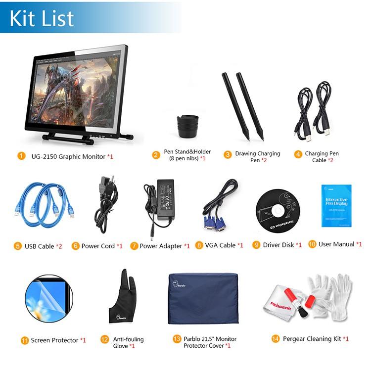 Venta al por mayor-2 Bolígrafos UGEE UG-2150 UG2150 Digital Tablet Kit de  dibujo gráfico 21 5 IPS Monitor 1920x1080 Protector Cubierta Guante Cable