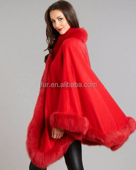 Soft women merino wool wholesale real red fox fur cape