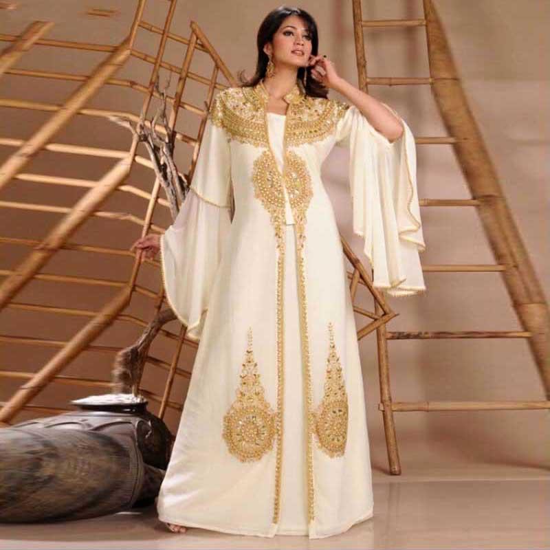 Ihram Kids For Sale Dubai: 2015 Robe De Dubai White Chiffon Muslim Evening Dress Gold