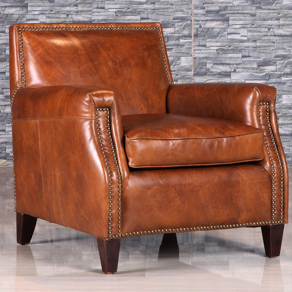 Retro Style Antique Leather Armchair With Rivet - Buy ...