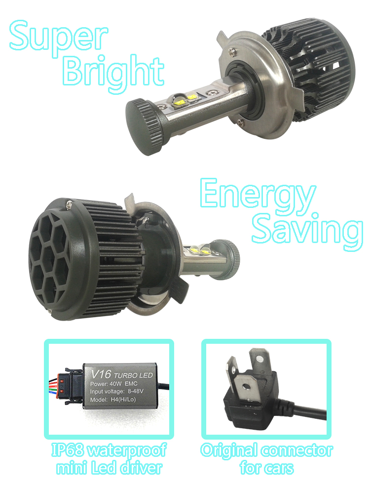 New H4 CREE LED Motorcycle Headlight Bulb 4000LM 40W HiLo 20W Low Beam Conversion Kit 3000K 4300K 6000K DC 12V P43T Headlamp (3)