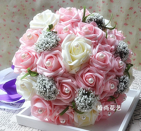 Inexpensive Flowers For Wedding Bouquets: Cheap Wedding Bride Bouquet Artificial Silk Flowers