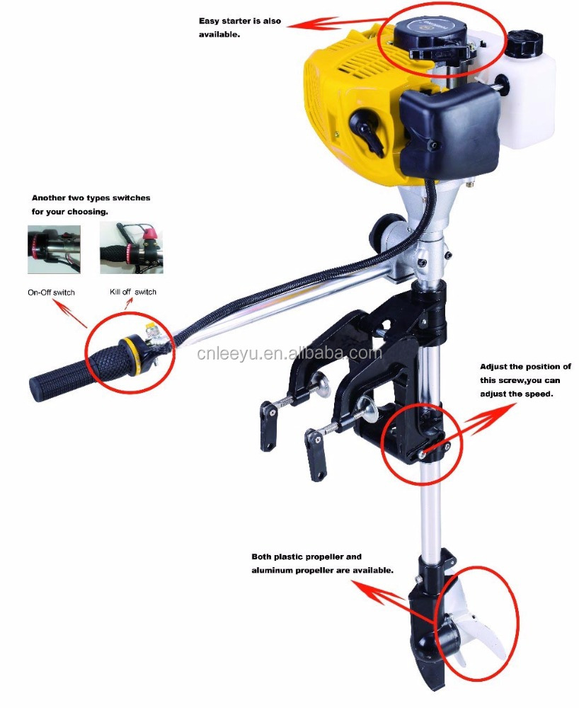2 Stroke air cooled outboard motors Small petrol fishing boats yacht with outboard motor the factory direct