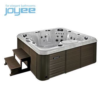 JOYEE rectangle luxury family kids fun outdoor hot tub/japanese massage whirlpool bathtub waterfall jacuzzi function
