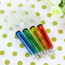 2015Creative novelty syringe particular form of stationery syringe ballpoint pen cute 0.5mm ball ammunition reload automatically