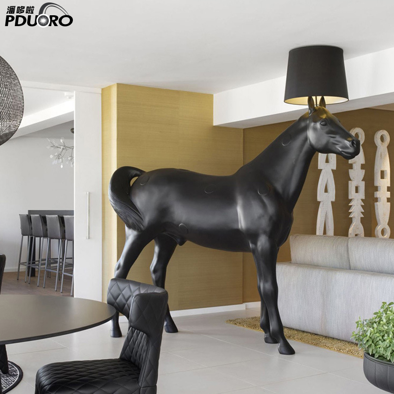 High Quality E27 Resin+Fabric Covering Electrical Horse Modern Floor Lamp For Hotel