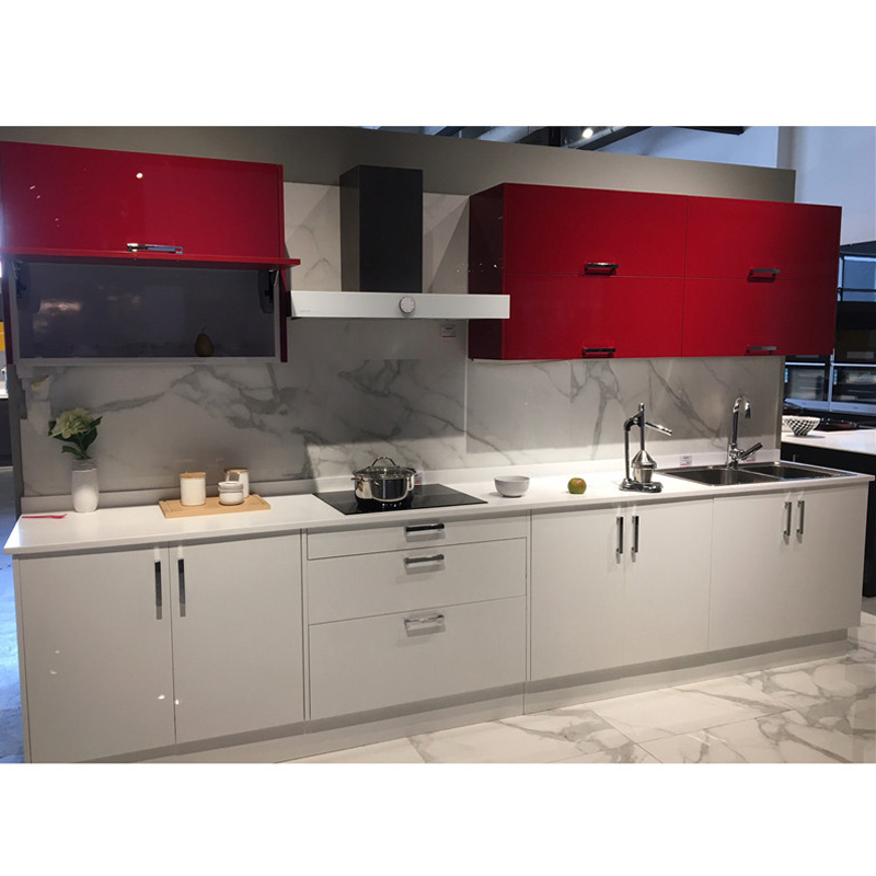 Modern Red Combine White Color High Gloss Lacquer Kitchen Cabinet Buy Product On Alibaba Com