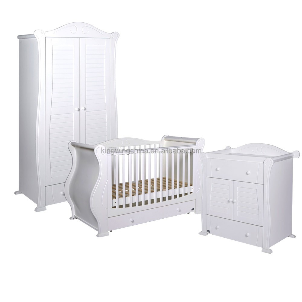3 Piece Kids White Bedroom Furniture Set (baby Cot / Chest Of