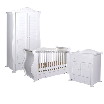 3 Piece kids White bedroom furniture Set (Baby cot / chest of drawers/ wardrobe)