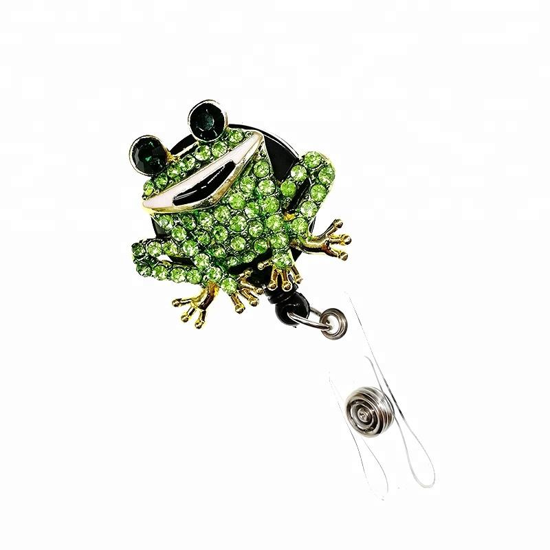 Rhinestone Animal Frog Retractable Rhinestone Bling For Nurse Accessories Hospital ID Name Card Holder