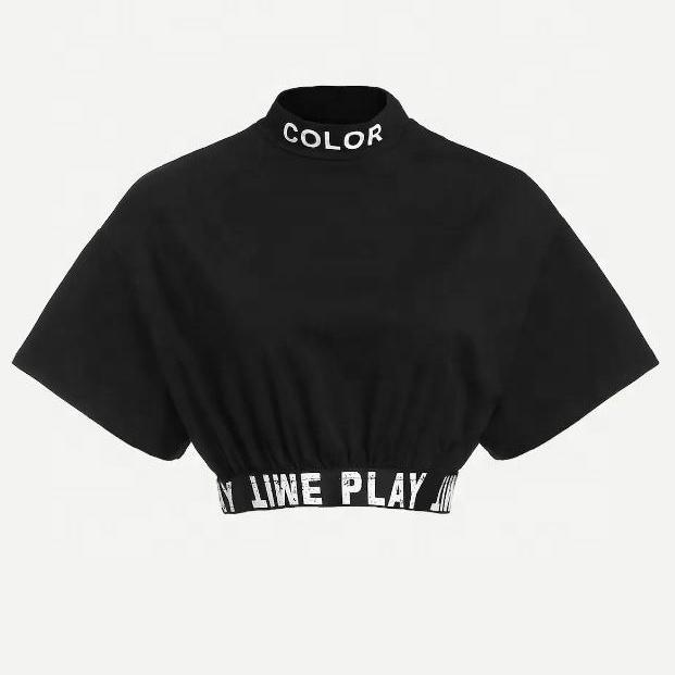 Оптовая продажа, женские рубашки с высоким воротником, женские повседневные Черные кроп-топы