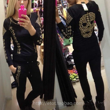 New 2014 sport suit women QLZ skull sweatshirt+pants hoodies tracksuits clothing black white pullover sport sportswear one set