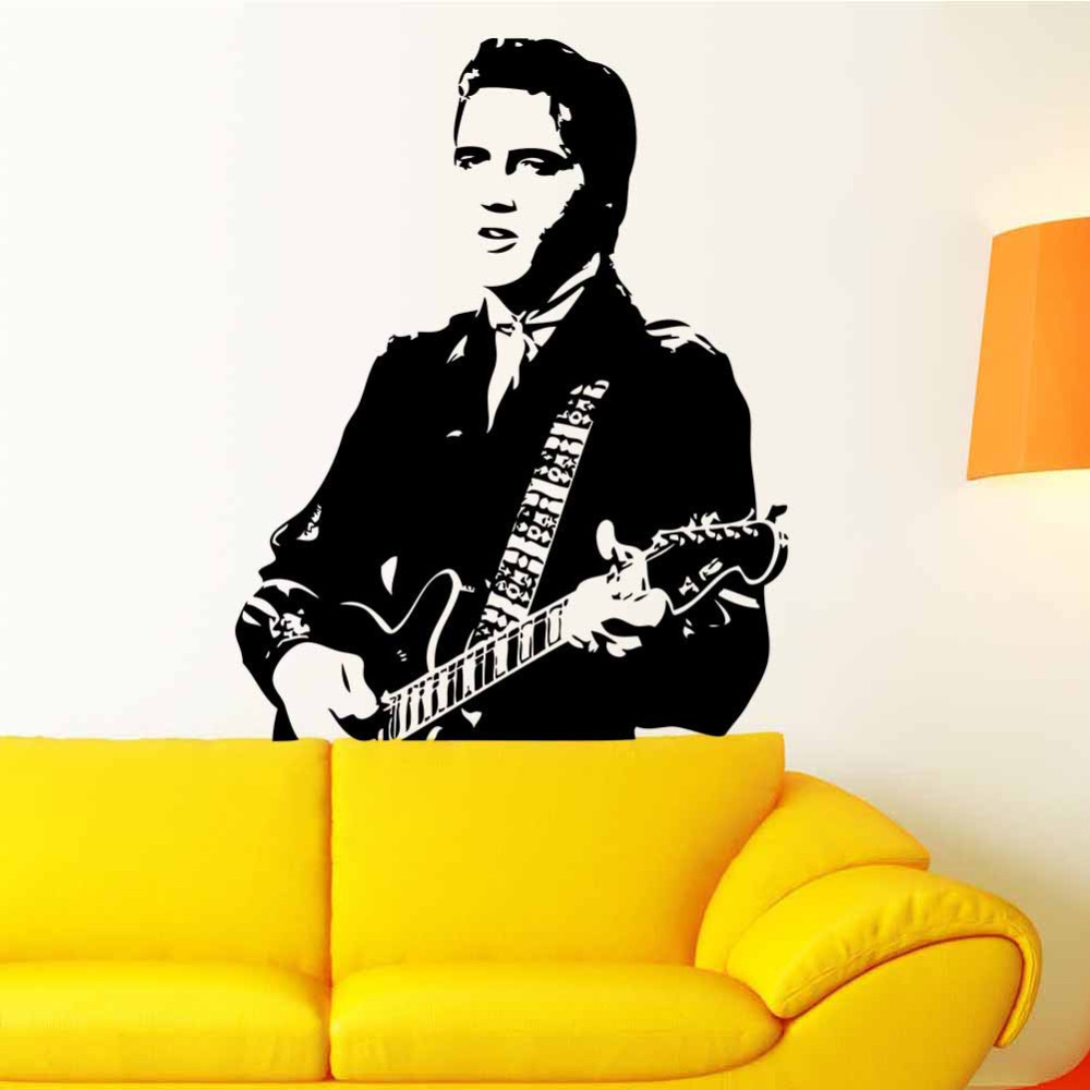 Creative Home Decor Elvis Presley playing guitar home decor vinyl wall stickers adhesive  quarters of children room