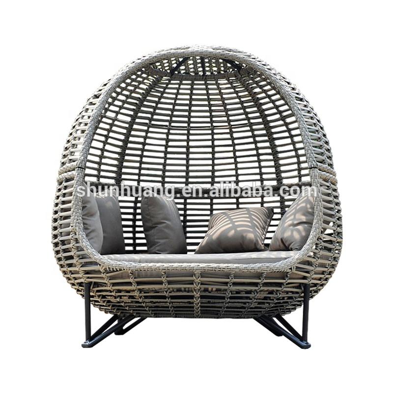 Полиэтиленовый ротанговый садовый шезлонг, плетеная кровать для продажи