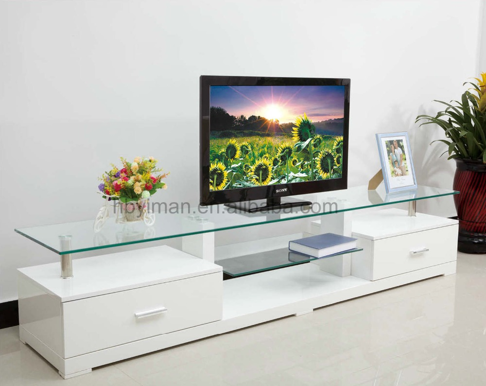 Hot selling chinese wooden based high gloss tempered glass TV stand