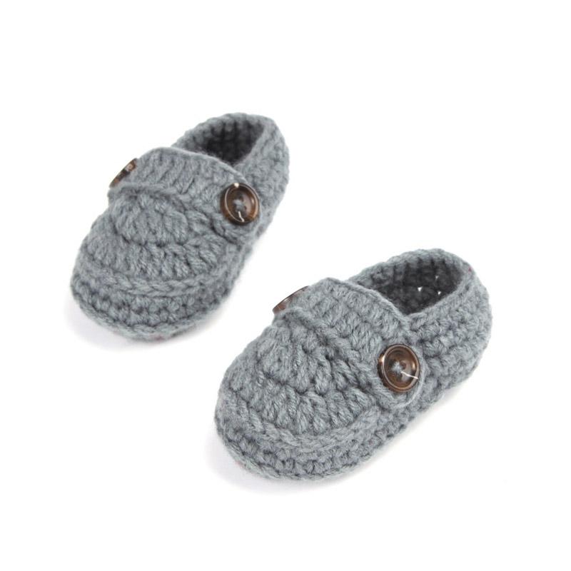 Fashion Buckle Baby Boy Shoes Handmade Knitting Crochet Booties Cheap Baby Crochet Shoes 10 cm
