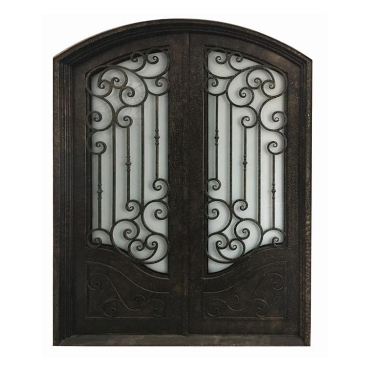 Wholesale Price Custom Wrought Iron French Security Door,Decorative Iron Gate Door