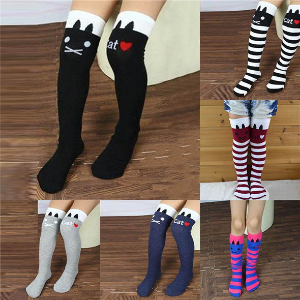 New Toddlers Kids Girls Knee High Socks School Cotton Tights Striped Stockings for Girls 1 8Y