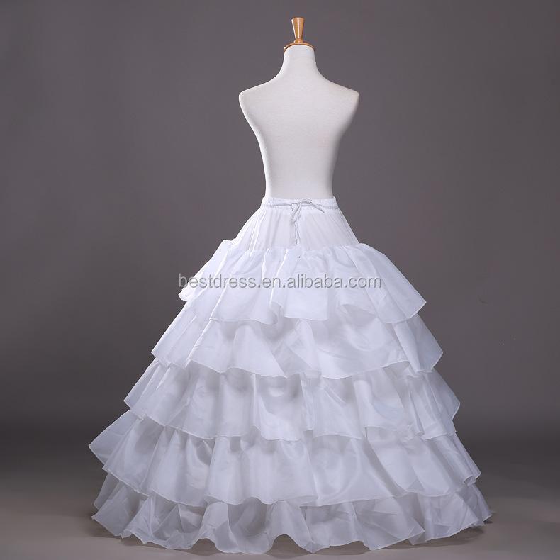 Full White Ball Gown 4 Hoops Wedding Accessories Petticoat Underskirt Slips Gown for Wedding Dress