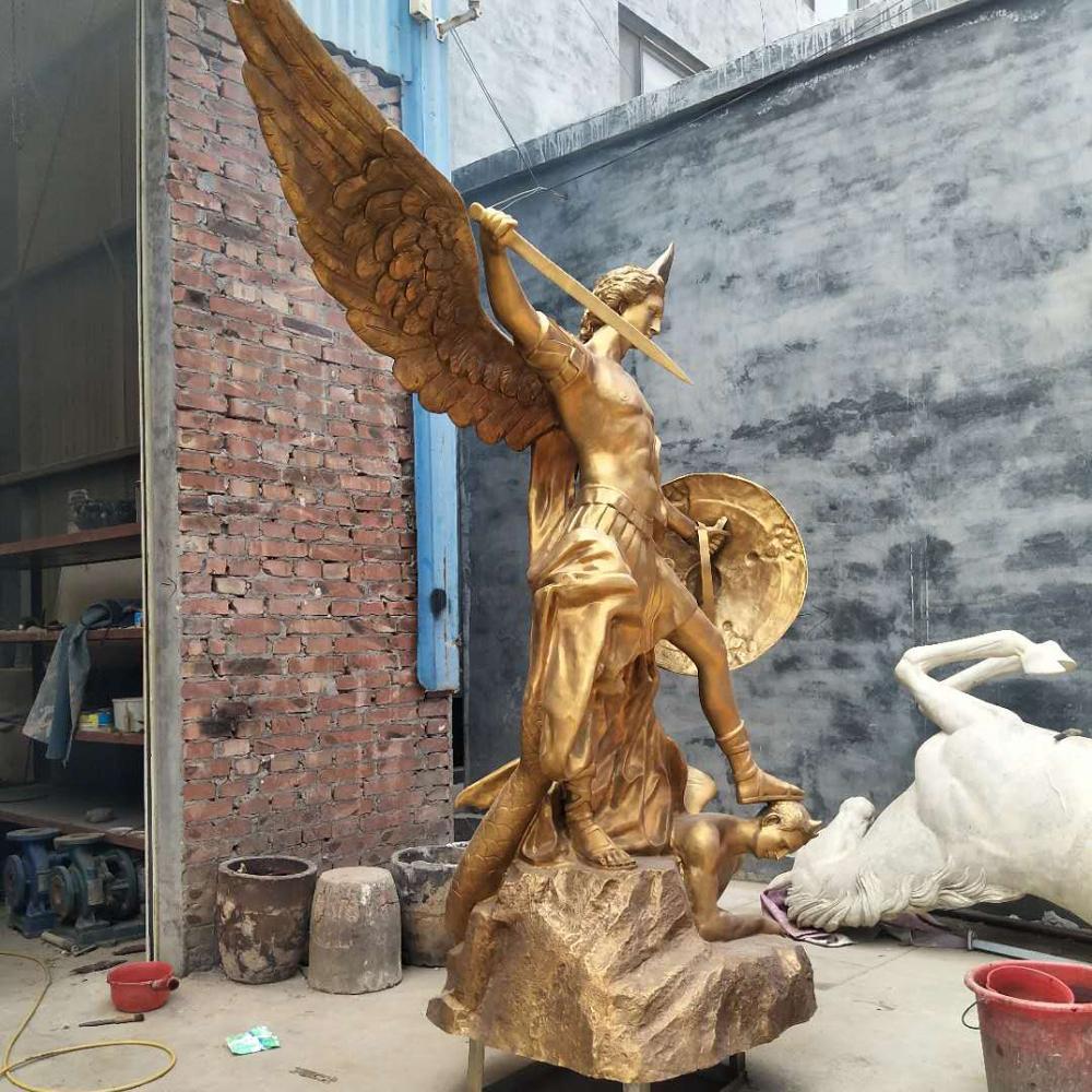 2021 Popular Marble Bronze Life Size Saint Michael the Archangel Statue