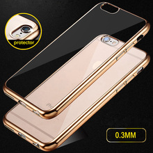 Luxury Ultra Thin Clear Crystal Rubber Plating Electroplating TPU Soft Mobile Phone Case For iPhone 5 5S SE 6S 6 Plus Cover bag