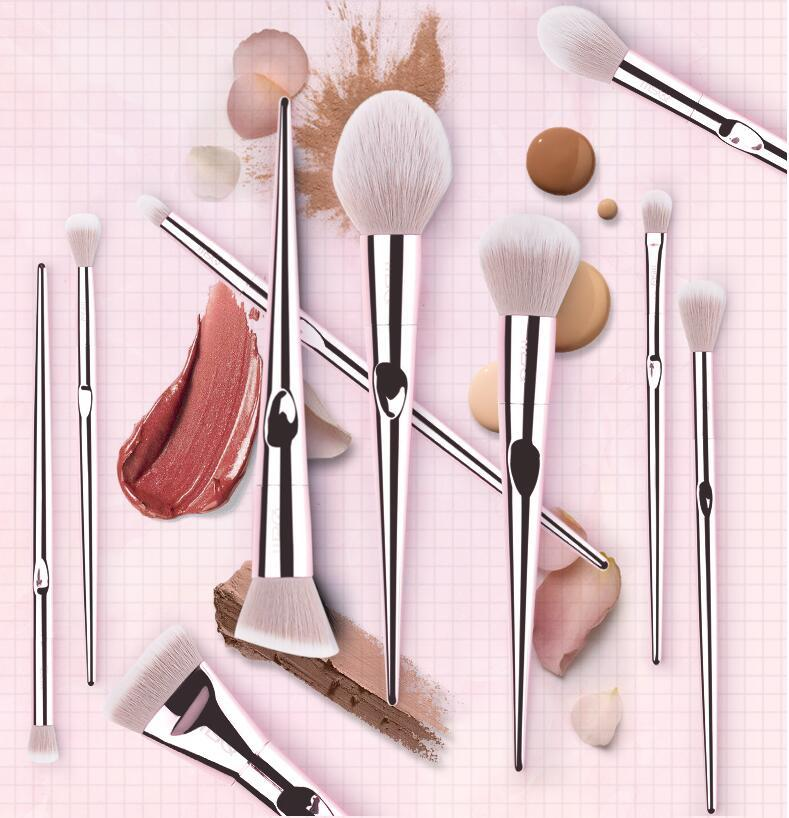 BUEART 2018 New design diamond pink color eye brow and shadow foundation single makeup brush