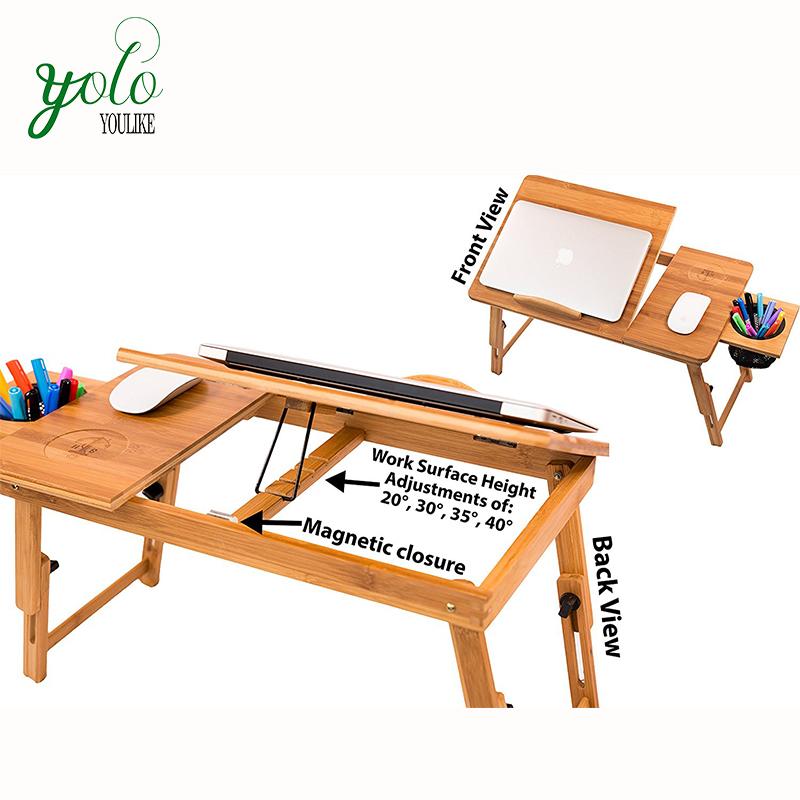 Регулируемый складной Бамбуковый стол для ноутбука с хранилищем