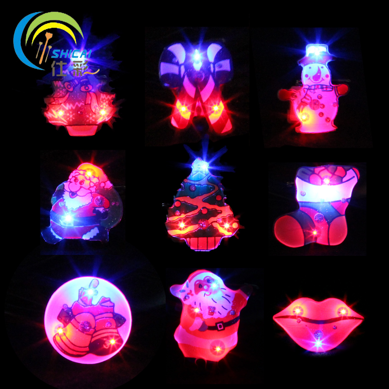 Christmas Glowing Led Flashing Brooch Cartoon Brooch