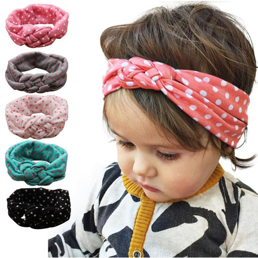 Stylish 1pcs Lovely 5Color Cotton Elastic Dot Cross Weave Twist Headband Angel Baby girl Hairband for