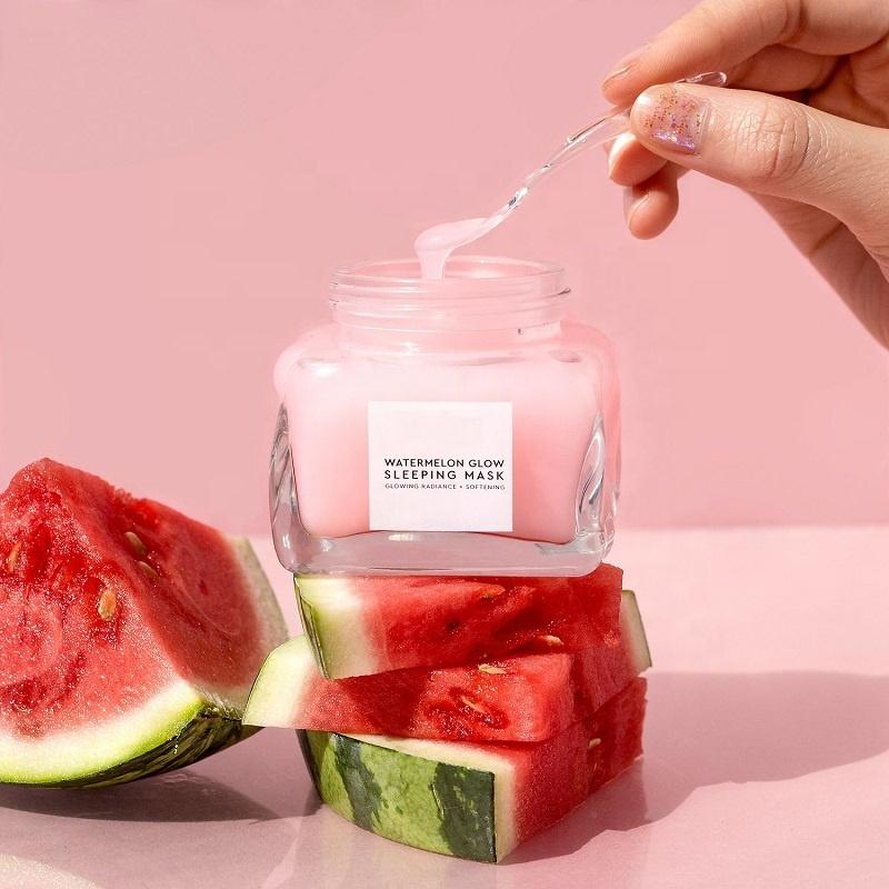 Маска для сна с арбузом и ароматом арбуза, светящаяся маска для лица, мягко отшелушивает и очищает поры