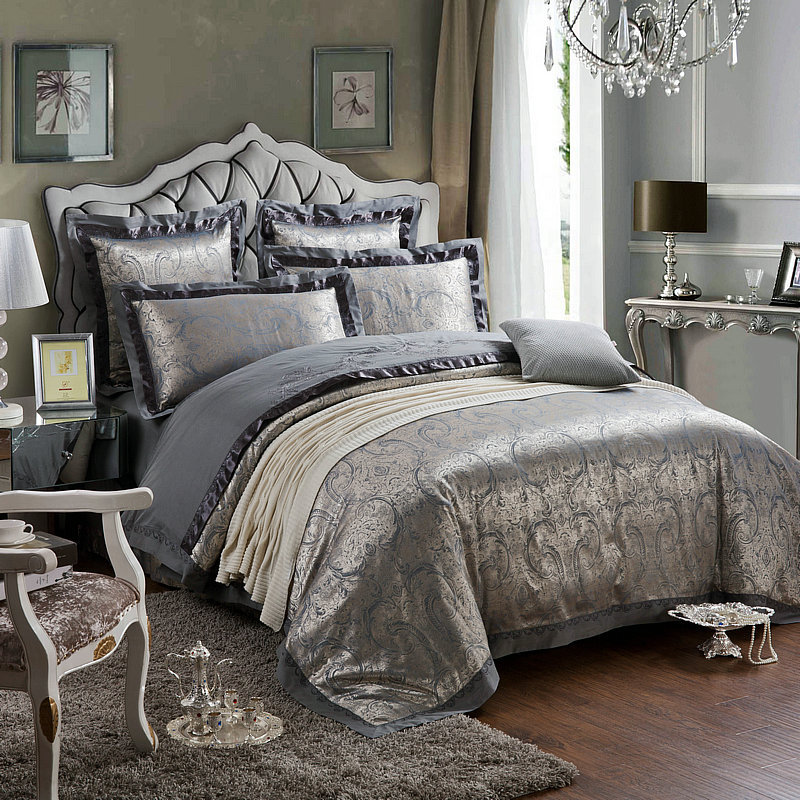 4pcs set luxury beautiful flower printed damask bedding - King size bedroom comforter sets ...